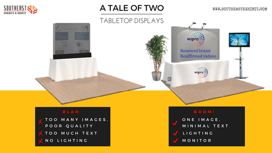 Southeast Exhibits TALE-OF-TWO-TABLE-TOP-DISPLAYS Trade Show Triumph -- A Tale of Two Tabletop Displays